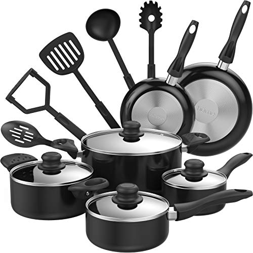 (hOmeLabs 15 Piece Nonstick Cookware Set - Kitchen Pots and Pans Set Nonstick with Cooking Utensils - Oven Safe Basics Non Stick Pot and Pan Set - Black)