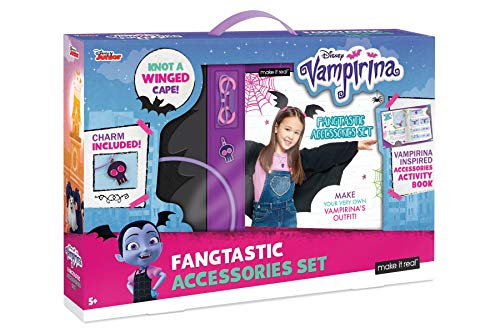 (Make It Real - Disney Vampirina Fangtastic Accessories Set. DIY Craft Costume Making Kit for Little Girls. Guides Kids to Create Fleece Cape and Fashion Accessories from Disney's)