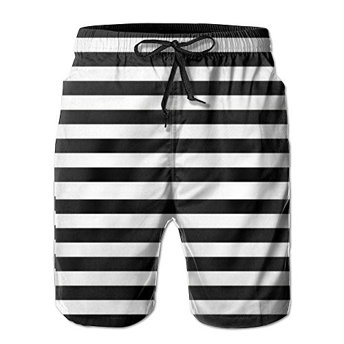 Black and White Mosaic Vertical Stripes Men Quick Dry Stripe Swim Trunks Mesh Lining Beach Shorts with Adjustable Pull Cord