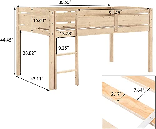 Romatpretty Loft Bed Junior Bed Twin Captains Solid Wood Captain Bed With Spacious Storage Shelves Multiple Finishes Safe Reliable Strong And Durable Length Guard Rails For Kids, Bedroom,Living Room