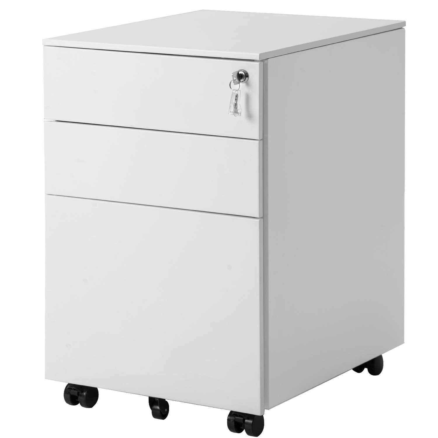 ModernLuxe 3 Drawer Metal Mobile File Cabinet with Lock Metal Filing Cabinet Legal/Letter/A4/F4 Size Fully Assembled Except Casters (White) by ModernLuxe