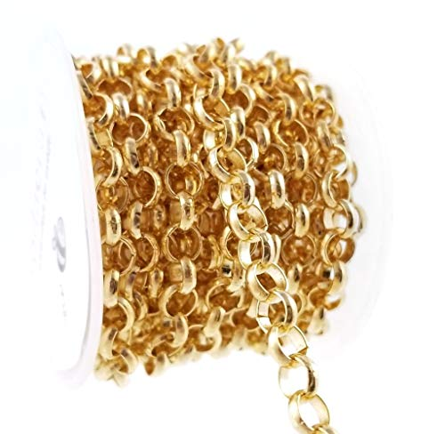 Gold Thick Rolo Link Chain Spool for Jewelry Making, Crafts ()