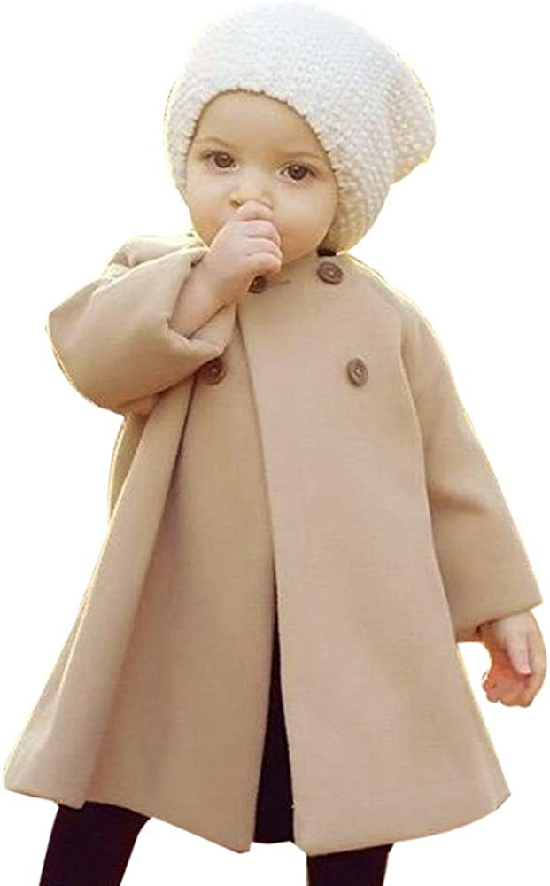 start/_wuvi Coat Autumn Winter Girls Kids Baby Cloak Button Jacket Warm Outwear Clothes