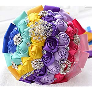 GJX Seven Colored Brides Hand Holding Bouquet Artificial Flowers Silk Flowers Crystal Roses Bridesmaid Wedding Bridal Flowers 12