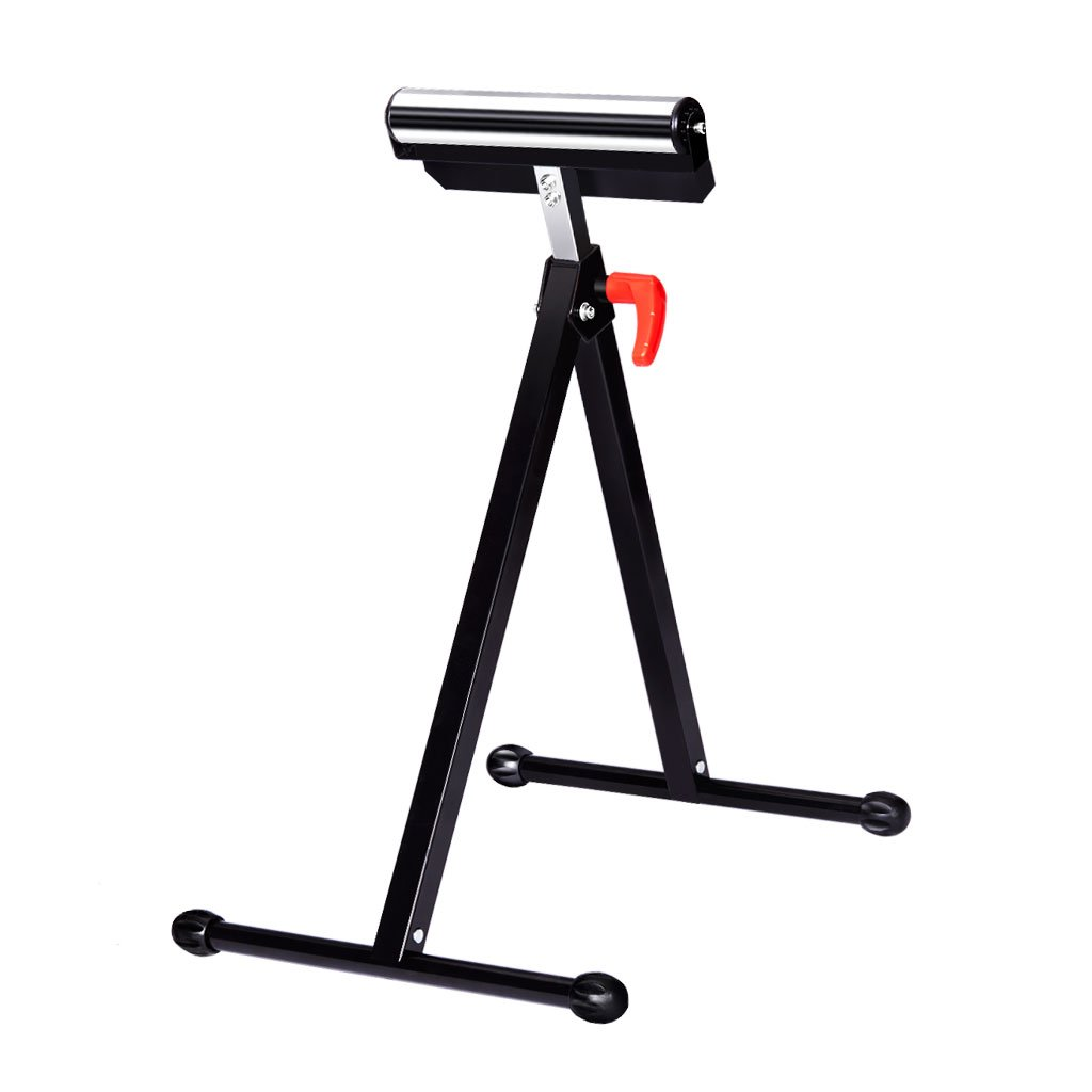 Finether Height Adjustable Folding Roller Stand, Pedestal with Ball Bearing Roller, Works with Table Saws, Miter Saws, Planers and Jointers for Log, Timber, Firewood and Metal Material, 132 lbs Capac