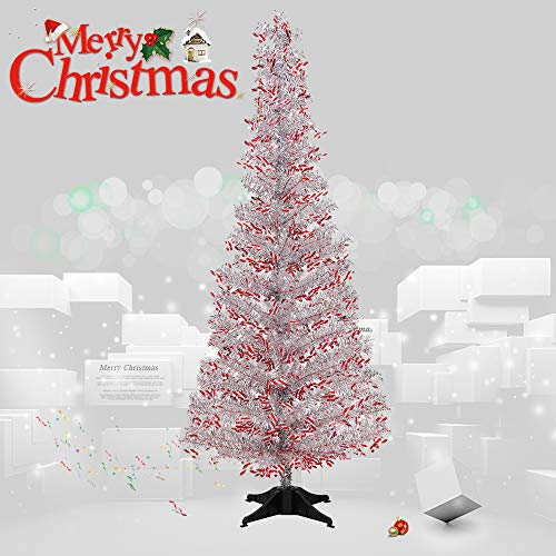 - Joy-Leo 5 Foot Shiny Candy Cane Silver Christmas Tree with Reflective Sequins, Collapsible & Reusable Silver Tinsel Christmas Tree for Christmas Decoration with Plastic Stand