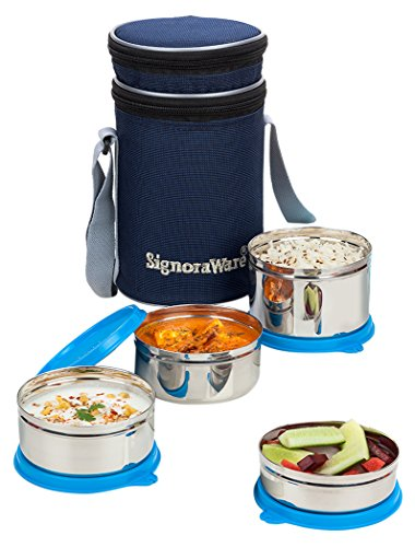 Signoraware Executive Stainless Steel Lunch Box Set, Set of 4, Blue Price & Reviews