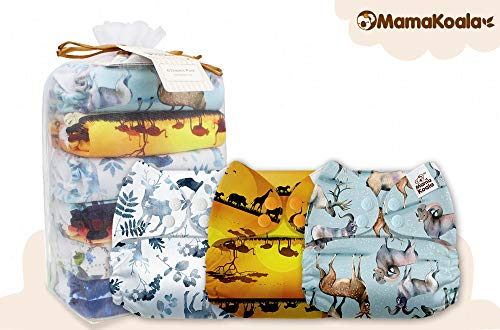 Mama Koala One Size Baby Washable Reusable Pocket Cloth Diapers, 6 Pack with 6 One Size Microfiber Inserts (Born to Be Wild)