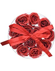 Wrapables Scented Rose Soaps, Red, Set of 12