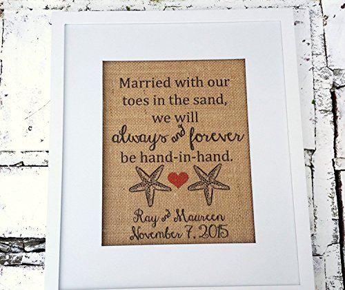 Beach Wedding signs, Married with our toes in the sand, personalized names, beach wedding ideas