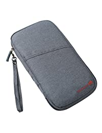 Fleulumira Travel Passport Wallet Holder Document Bag Card Cash Organiser With Hand Strap (Gray)