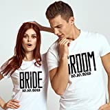 Lily's Atelier Bride and Groom Couple Matching T-shirt, Est Newly Married, Valentines day, Honeymoon and Anniversary T-shirt - LAWTS_D8
