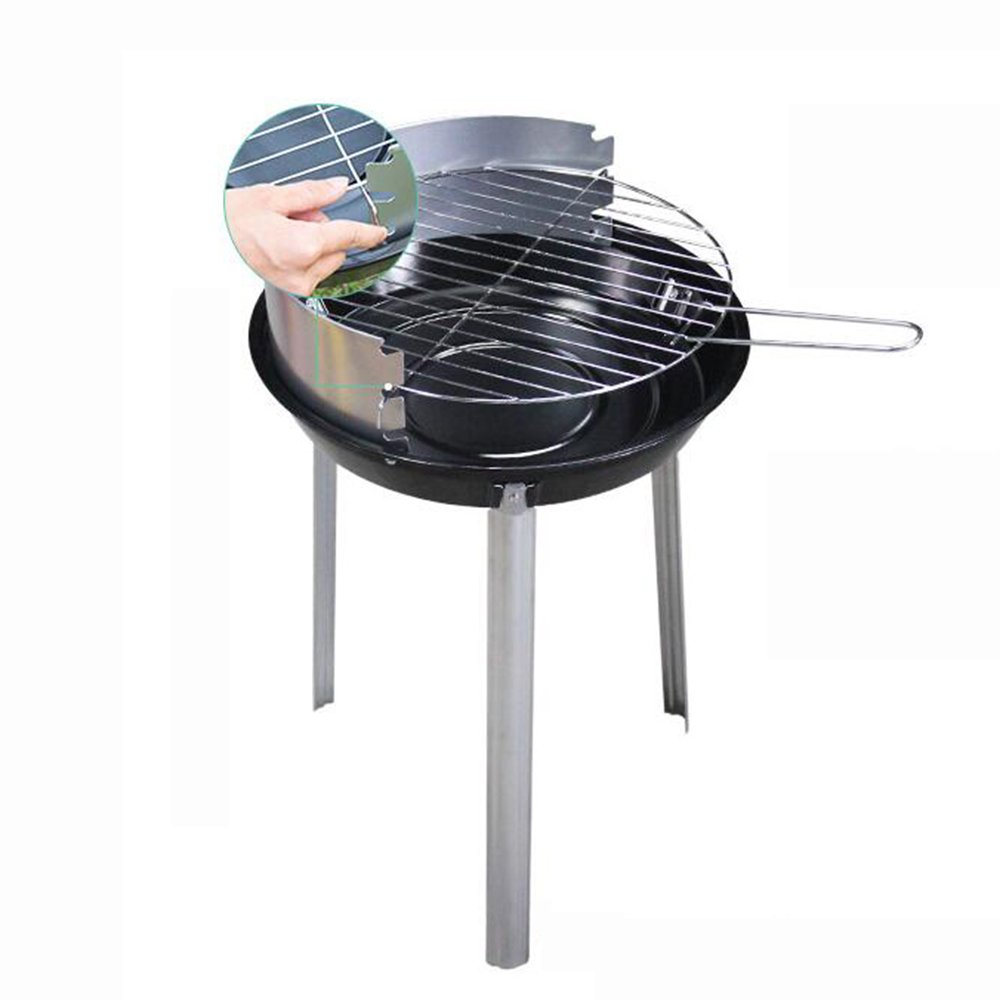 ZZ-aini Charcoal grills Griddles Round Stainless steel, Smokeless Camping Picnicking Garden Party Barbecue-A 38x58cm(15x23inch)