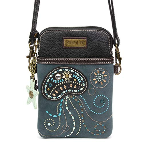 Chala Dazzled Crossbody Cell Phone Purse - Women Faux Leather Multicolor Handbag with Adjustable Strap (Jellyfish - Navy) ()