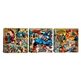iCanvasART 3-Piece Marvel Comic Book Captain America on Captain America Covers and Panels Panoramic Canvas Art Print, 48 by 16-Inch
