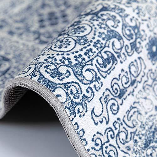 jinchan Vintage Area Rug for Kitchen Tile Design Elegant Floral Floorcover Indoor Soft Mat for Bedroom Living Room Navy 3 x 5 3