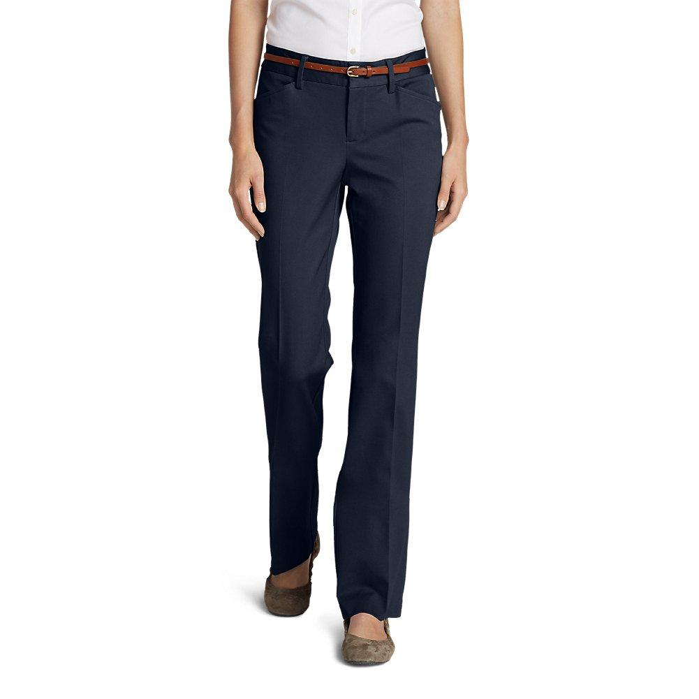 Eddie Bauer Women's StayShape Twill Trousers - Slightly Curvy, Navy Petite 14 P