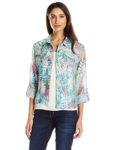 Ruby Rd. Women's Petite Size Button-Front Tropical Palms Printed Crinkle Burnout Shirt Jacket, Aquamarine Multi, 4P