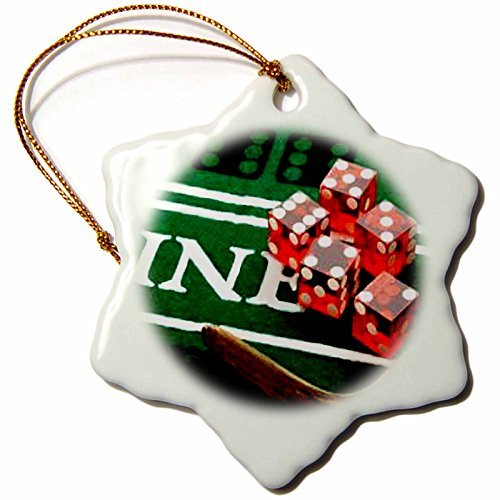 Games - Craps - 3 inch Snowflake Porcelain Ornament (848_1)