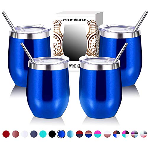 Zonegrace 4 pack 12 oz Stainless Steel Stemless Wine Glass/Mug,Double Wall Vacuum Insulated thermal Royal Blue Wine…