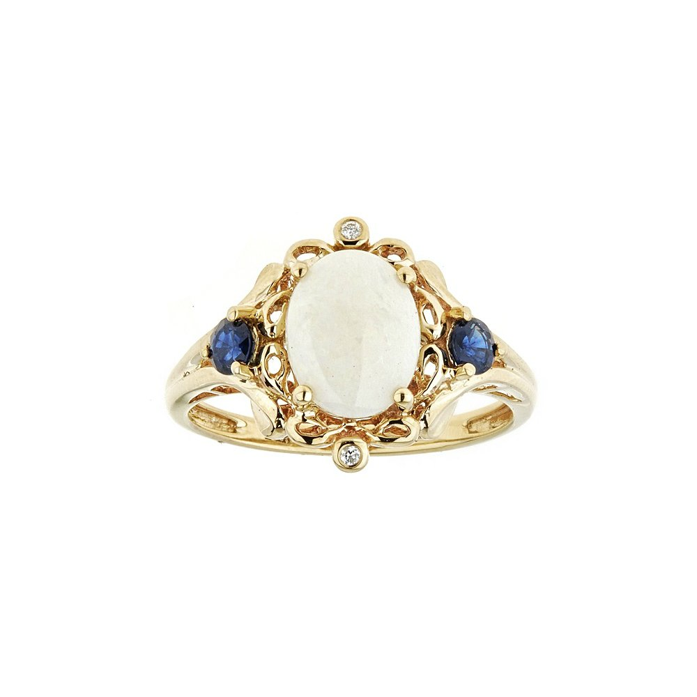 Gin and Grace 14k Oval Opal Sapphire Blue Diamond Ring, Yellow Gold 1/20ct TDW Diamond Band for Women, Simple & Elegance Promise Rings