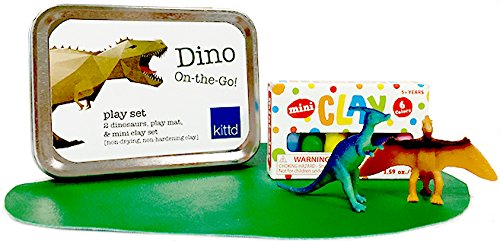 kittd Dino On-The-Go' Kids Travel Play Set - Unplugged Activities in Travel-Ready Tins - Includes 2 Assorted Dinosaurs, 6 Mini Clay Pieces, and Play Mat - Perfect for Traveling, Events, More! by kittd (Image #1)