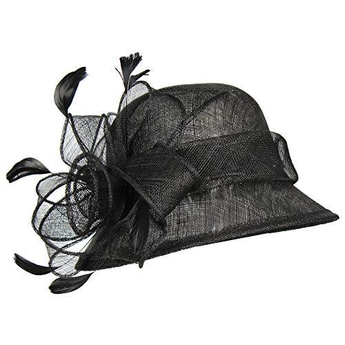 (Black Sinamay Cloche Derby Victorian Flower Fascinator Hat - Bucket Lady Cap)