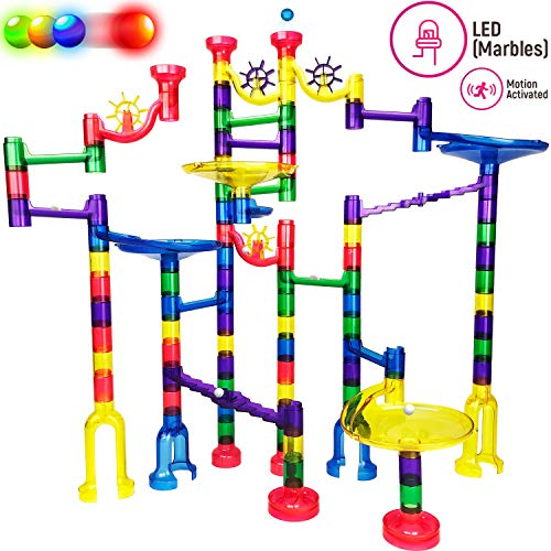 Thinkbox Toys 126 pc Light Up Marble Run Set for Kids - Free Online Instructions - BPA Free Building Block STEM Toy for Boys and Girls