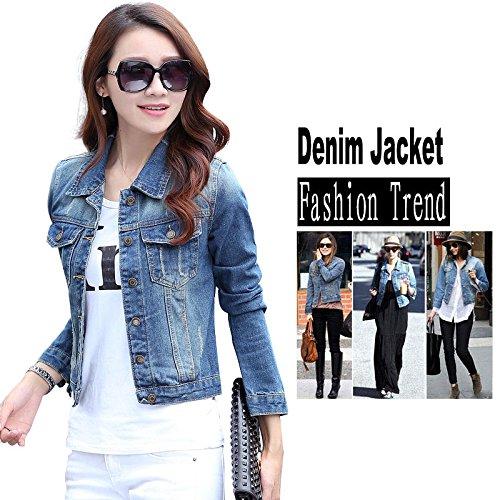 Fashion Womens Long Sleeve Coat Slim Denim Short Casual Jean Jacket Outerwear (Ck Be Unisex Type)