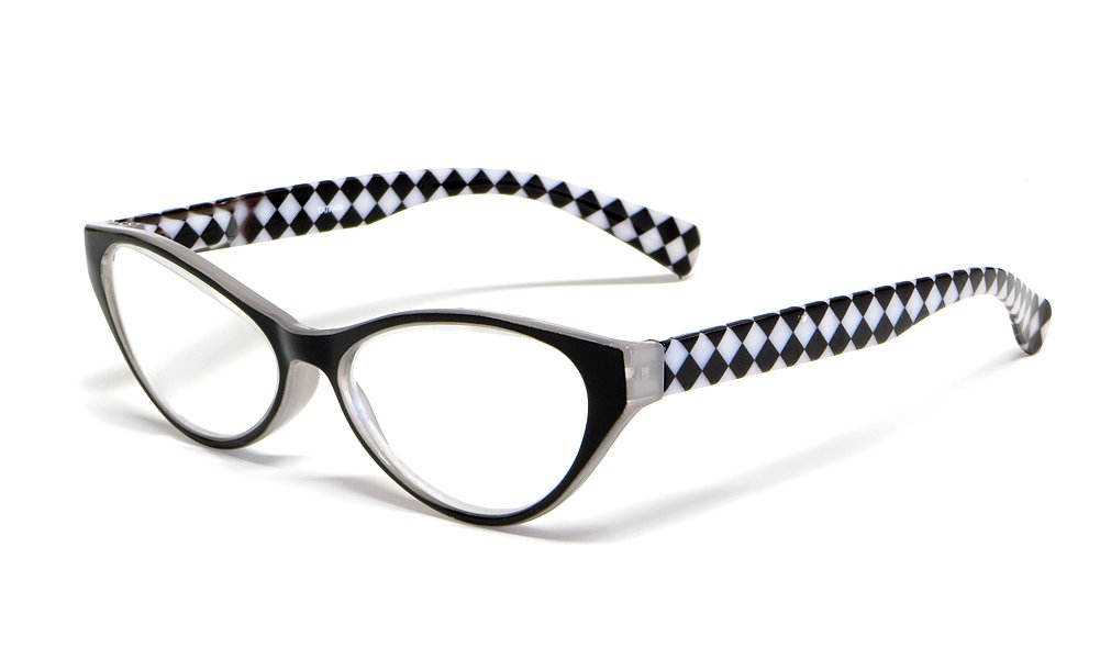 Calabria Emily Designer Reading Glasses in Black & White Checkers ; +1.00