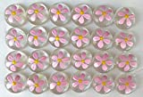 DAISY (Pink) Set of 24 Hand Painted Glass Gems; Party Supplies, Party Favor, Decoration, Token, Memoir, etc.let your imagination run wild!