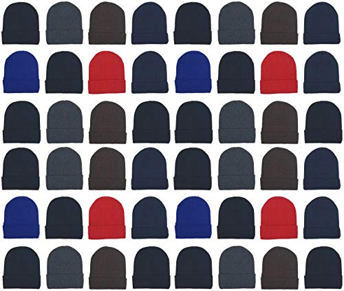 48 Pack Winter Beanies, Wholesale Bulk Cold Weather Warm Knit Skull Caps, Mens Womens Unisex Hats (Assorted Ribbed)