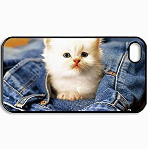 Customized Cellphone Case Back Cover For iPhone 4 4S, Protective Hardshell Case Personalized Cats Cat Black