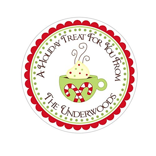Personalized Customized Holiday Christmas Gift Stickers - Hot Chocolate Cocoa - Round Labels - Choose Your Size