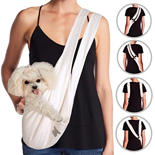Cheap MISO PUP Dual Strap Dog Sling Carrier (White/Gold) Pockets & Head Notches Made in USA Machine Washable for Spoiled Small Dogs 8lbs