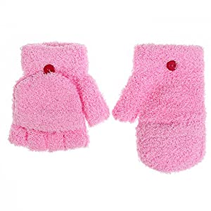Fingerless Gloves,Child Winter Gloves,Flip Top Gloves,Convertible Gloves with Mitten Cover By Cydnlive,Coral Velvet,4 Colors(Pink)
