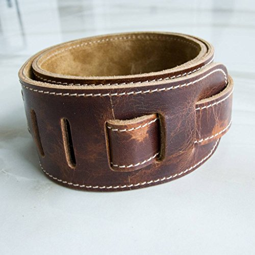 LeatherGraft Roadwork Distressed Traditional Brown Genuine Leather 2.7 Inch Wide Padded Guitar Strap - For all Electric, Acoustic, Classical and Bass Guitars