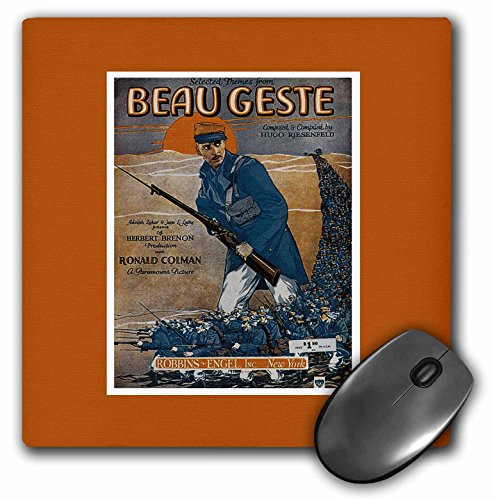 3dRose BLN Vintage Song Sheet Covers Reproductions - Themes From Beaugeste Soldier Holding a Rifle with Bayonet - MousePad ()