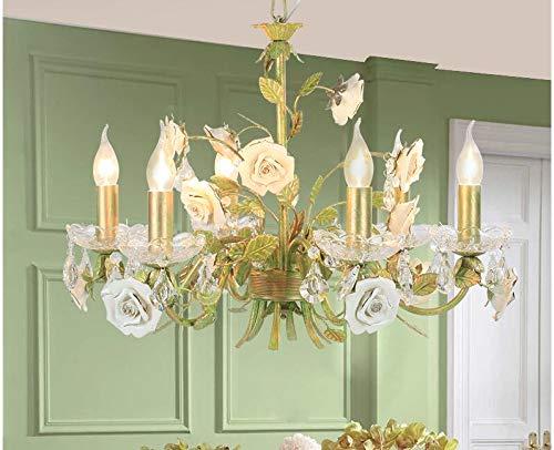 SHIJING Modern Rose European Chandelier lamp Lustre Light 6L/8L Garden Rose Flower Chandelier Light Fixture E14 Decoration,2 ()