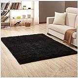 OYRE modern Simple decoration living room bedroom Non-slip plus thick carpet Yoga rug (Black, 2.6- Feet By 5.2- Feet)