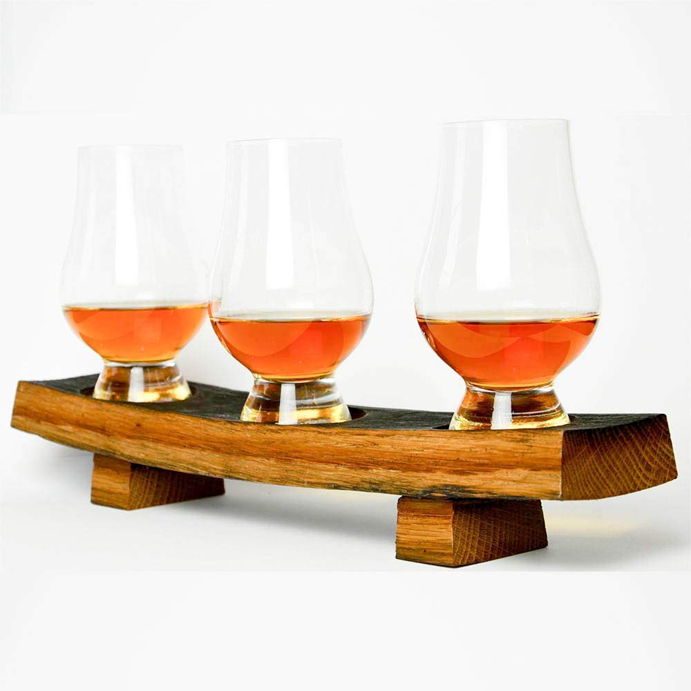 Whiskey Flight Tray made from Reclaimed Whiskey Barrel with Glencairn Tasting Glasses for Whiskey, Bourbon, or Scotch