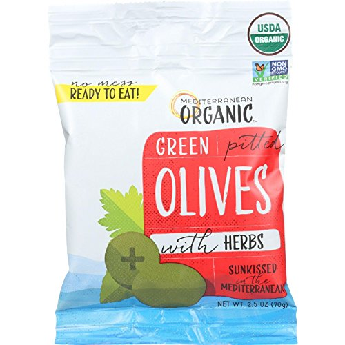Mediterranean Organic Olives with Herbs - Green Pitted - Snack Pack - 2.5 oz - Case of 12 - 95%+ Organic - Dairy Free - Ready To Eat - Highest Quality - Vegan (Best Olives To Eat)