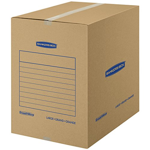 Bankers Box SmoothMove Basic Moving Boxes, Large, 18 x 18 x 24 Inches, 7 Pack (7714002) (Fellowes Bankers Box Labels)