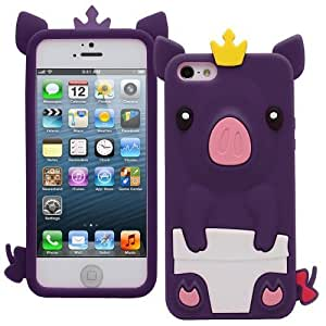 OnlineBestDigital - Piggy Style Soft Silicone Case for Apple iPhone 5S / Apple iPhone 5 - Purple