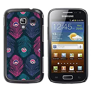 TopCaseStore / la caja del caucho duro de la cubierta de protección de la piel - Peacock Pattern Teal Purple Pink - Samsung Galaxy Ace 2 I8160 Ace II X S7560M