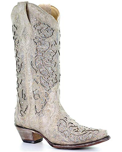 Corral Women's 14-inch Off White Glitter Inlay & Crystals Snip Toe Pull-On Cowboy Boots -
