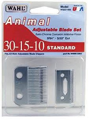 Adjustable Blade Set - Wahl Standard 30-15-10 Adjustable Clipper Blade Set Satin Chrome 3/64