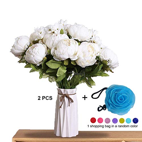 Uworld Artificial Peony Flowers (2pack Ivory) Beautiful Silk Faux Peonies w/Fully-Bloomed Heads, Buds, Fake Floral Greenery | Home, Office, Living Room Decor | Shopping Bag