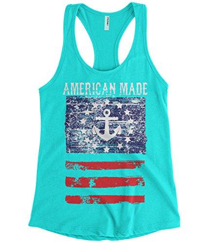 Cybertela Women's American Made Faded Anchor Flag Racerback Tank Top (Light Blue, - Flag Confederate Tank