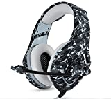 Camouflage PS4 Headset Bass Gaming Headphones Game Earphones Casque with Mic for PC Mobile Phone New Xbox One Tablet (Grey)